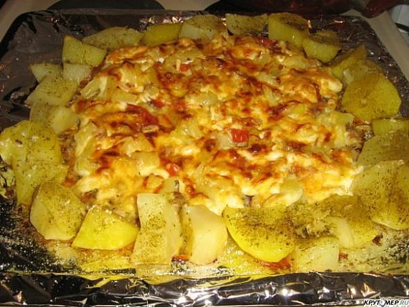 Картошка слоеная с курицей в духовке рецепт пошагово