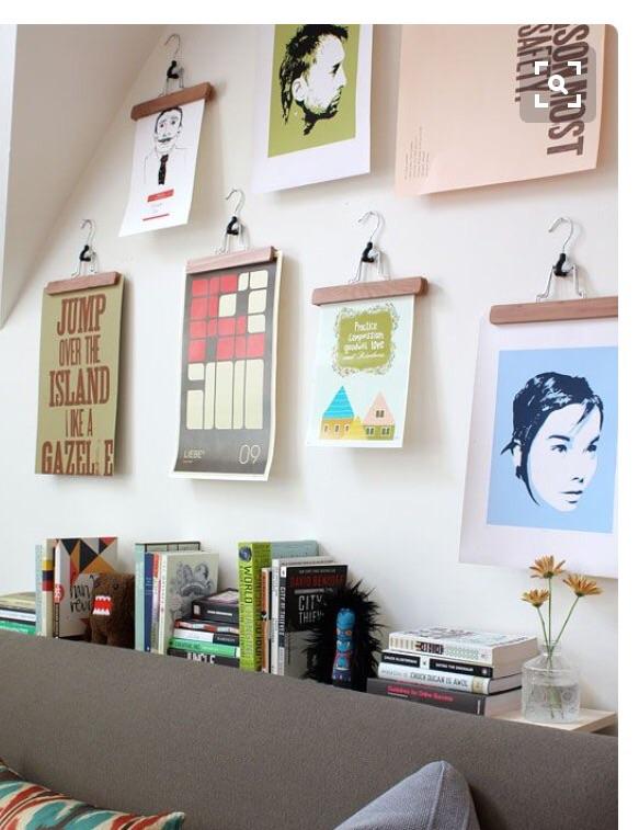 как развесить принты на стене может