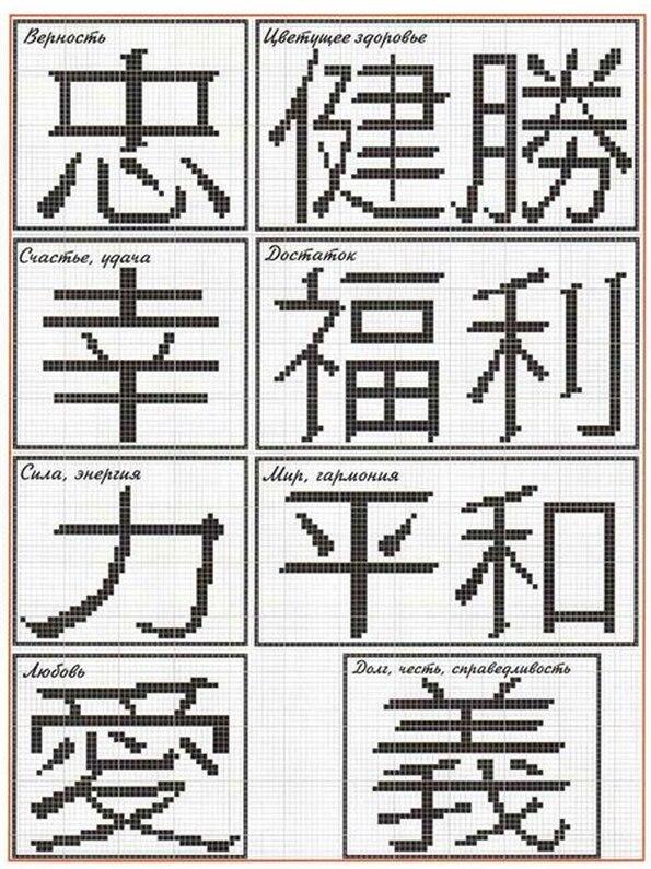 исполнение иероглиф схема вышивки