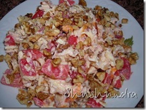 Рецепты салатов с копченой курицей с орехами