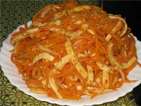 Кальмары с корейской морковью рецепты простые