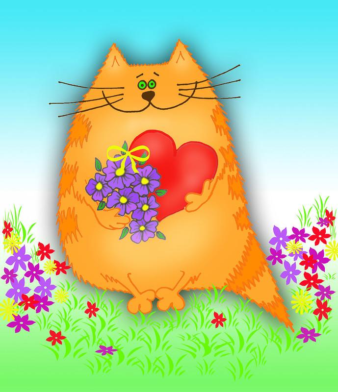 Выздоравливай, открытка толстый кот с днем рождения