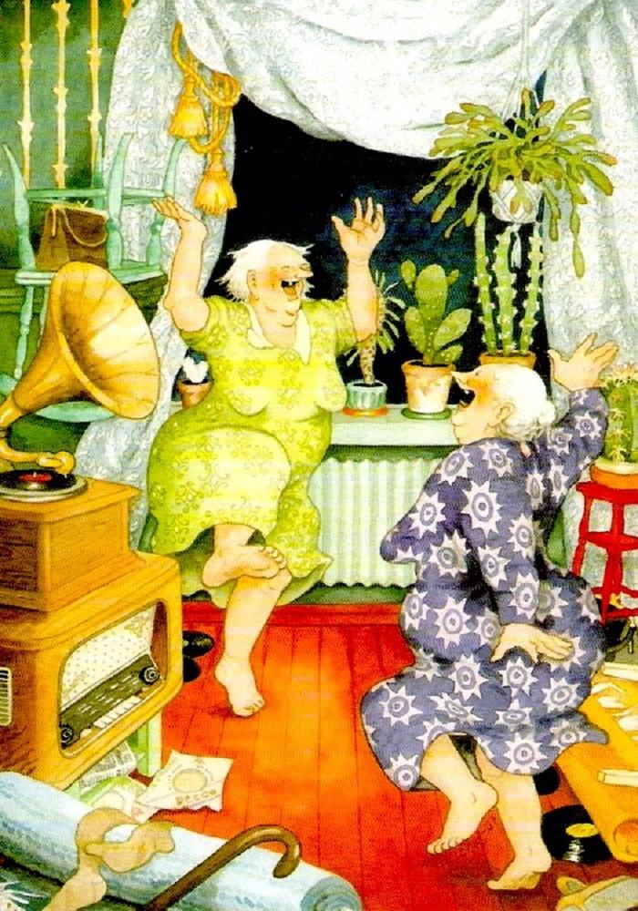 Рисованные картинки с юмором о старушках