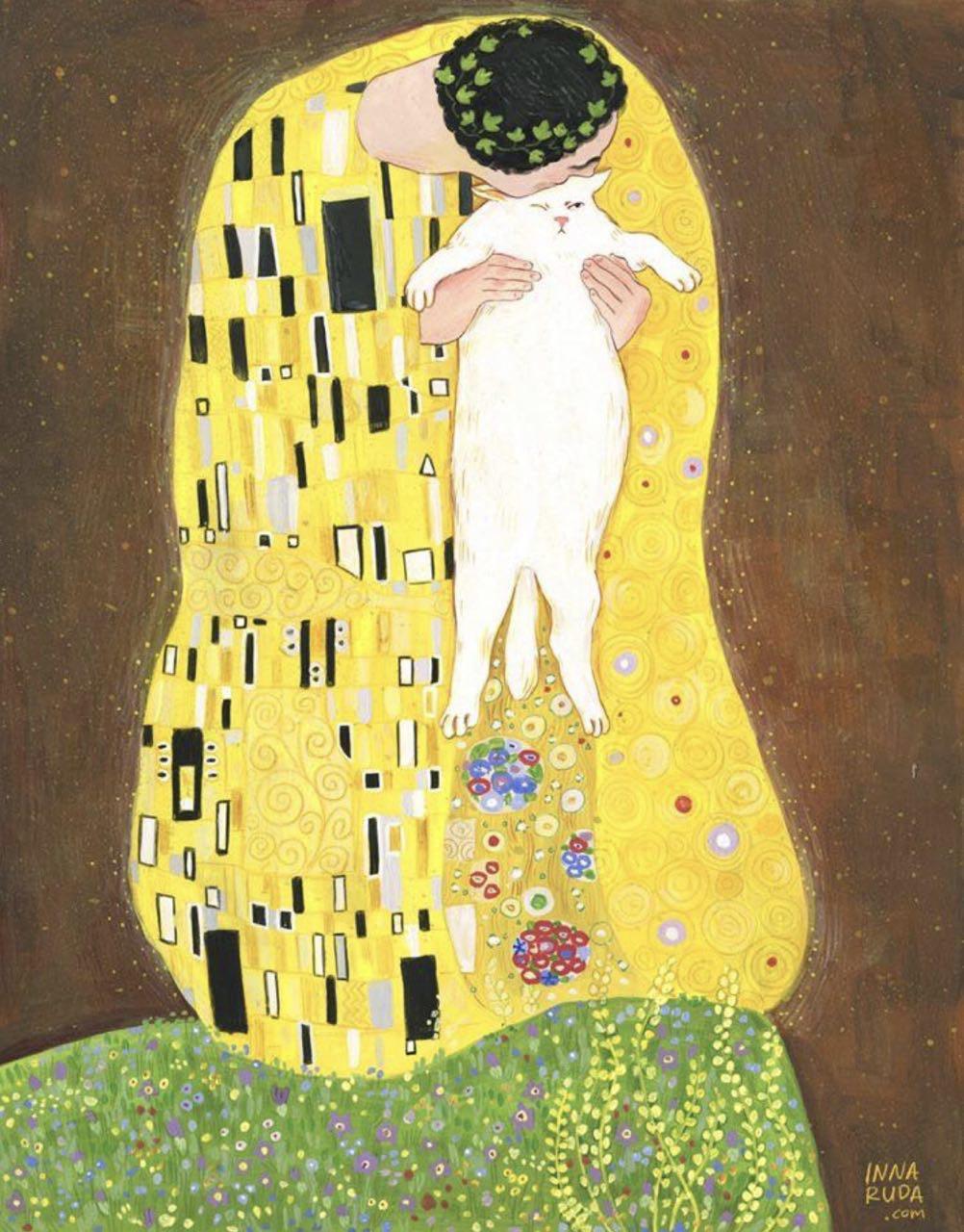 климт поцелуй коты новорожденного белого дракона