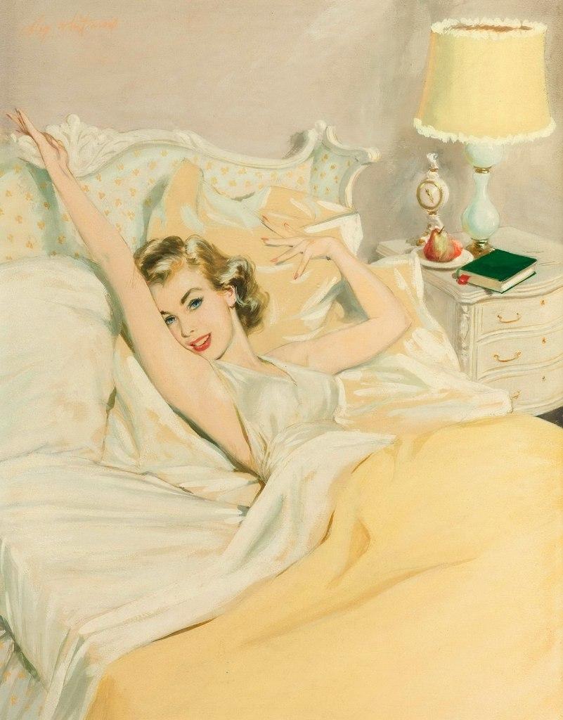 Днем, открытки девушки на кровати